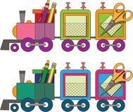 Train toy. Coloring book. Vector. Stock Photography