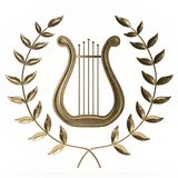 Ancient lyre with wreath 3d rendering. Ancient lyre with wreath on white 3d rendering Stock Photos
