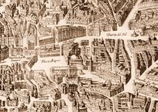 Ancient Madrid city map. Madrid city map, Spain: ancient map (1622&#x29 Stock Image
