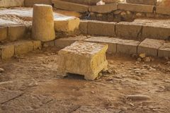 The ancient Magdala stone located in a 1st century synagogue dig. 4 May 2018 he ancient Magdala stone located in a 1st century synagogue dig located in the royalty free stock photos