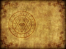 Ancient Magic Sigil Illustration. Illustration of a burned-in, aged ancient magical sigil or seal on a worn, textured background - with copy space royalty free illustration