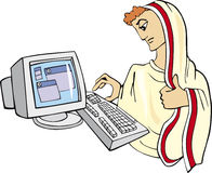 Ancient man and computer. Symbolic illustration of ancient man and computer Royalty Free Stock Image