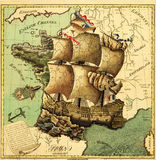 Ancient map. Antique Map of Ancient France Stock Image