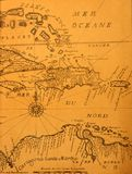 Ancient map. Hand-written ancient map of Caribbean basin from the book of 1678 Stock Photos