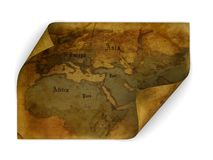 Ancient map. 3d illustration of ancient map isolated over white Stock Photo