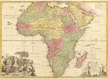 Ancient map of Africa Royalty Free Stock Photo