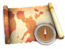 Ancient map and compass Royalty Free Stock Images