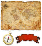 An ancient map with a compass. An ancient map on dirty brown paper with a compass Stock Photo