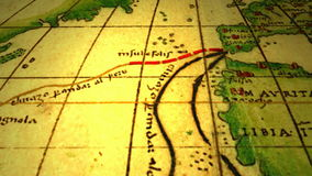 Ancient map with dotted lines stock footage