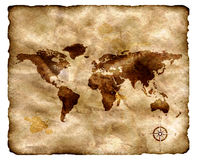 Ancient map on grunge paper. World ancient map on grunge paper Stock Photos