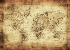 Ancient map of the world. Highly detailed ancient map of the world Royalty Free Stock Images