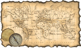 Ancient map of the world. Compass. Ancient map of the world. The torn, scorched edges. Compass Stock Photo