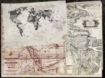 Ancient maps. Image related to of the sheets with on you bring ancient maps of the world Vector Illustration