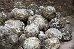 Ancient marble cannonballs in Castel Sant'Angelo in Rome, Royalty Free Stock Photos