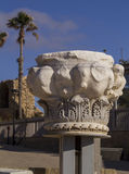 Ancient marble Column from ruins in Caesarea.Israel Stock Image