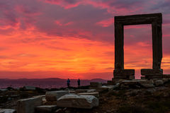 The Ancient marble gate Portara Royalty Free Stock Images