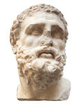 Ancient marble head of Hercules isolated on white Stock Photo