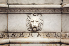 Ancient Marble Lion Head Bas-Relief Royalty Free Stock Photo