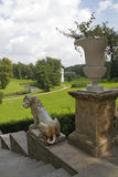 Ancient marble lion sculpture in Pavlovsk palace park. In the ba Royalty Free Stock Photo