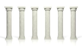 Ancient marble pillars. In a row  on white Stock Images