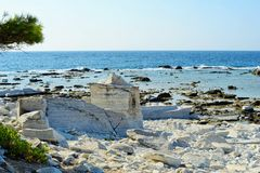 Ancient marble quarries of Aliki from Alyki in Thassos in Greece Royalty Free Stock Photos