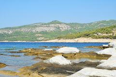 Ancient marble quarries of Aliki from Alyki in Thassos in Greece Royalty Free Stock Photography