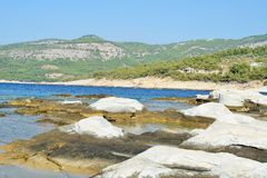 Ancient marble quarries of Aliki from Alyki in Thassos in Greece Royalty Free Stock Images