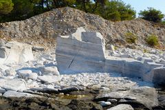Ancient marble quarries of Aliki from Alyki in Thassos in Greece Stock Photography
