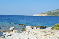 Ancient marble quarries of Aliki from Alyki in Thassos in Greece Royalty Free Stock Image
