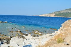 Ancient marble quarries of Aliki from Alyki in Thassos in Greece Stock Image
