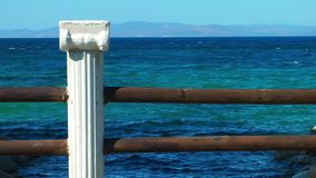 Ancient Marble Stone and Sea stock footage
