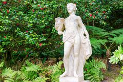 Ancient marble women statue in the park. Sculptured figure of young woman on blooming garden background.  royalty free stock images