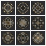 Ancient masonic pentagrams. Steampunk gold sacred vector symbols on dark backgrounds. Mystery circle esoteric symbol, freemasonry geometry spirituality stock illustration