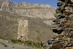 Ancient masonry in the mountains. stock image
