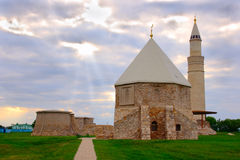 The ancient mausoleum and the mosque. Monuments Bolgar architecture of XIII century East mausoleum and the Cathedral mosque on a decline Royalty Free Stock Photography