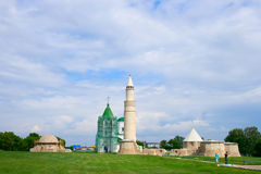 The ancient mausoleum and the mosque. Cathedral mosque, the big minaret and Assumption church in Bolgar Stock Photo