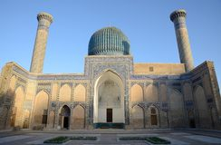 Ancient Mausoleum of Tamerlane in Samarkand. Ancient Mausoleum Gur Emir, a family tomb of Tamerlane (Amir Timur) and his successors, Samarkand, Uzbekistan, 15th Stock Photography