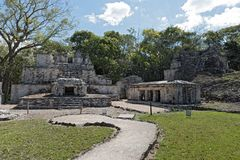 Ancient maya building at Muyil Archaeological site Quintana Roo Mexico royalty free stock image