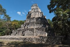 Ancient maya building at Muyil Chunyaxch Archaeological site, Quintana Roo, Mexico.  Royalty Free Stock Photos
