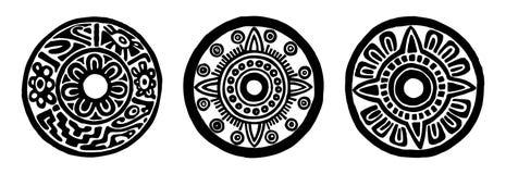Ancient maya circle flowers Royalty Free Stock Photo