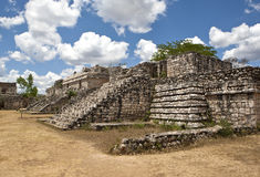 Ancient Maya city of Ek Balam. Ruins of historical buldings ancient Maya city of Ek Balam royalty free stock photography