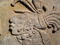 Ancient Maya lintel. Ancient Maya limestone lintel from Yachilan, Mexico dating from about AD725 Stock Photo