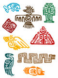 Ancient maya monsters. Set of religious design. Vector illustatin stock illustration