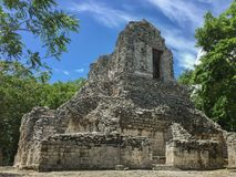 Ancient Maya ruin in Xpujil, Campeche, Mexico sitting in the middle of the jungle. During the royalty free stock photos