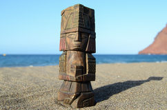 Ancient Maya Statue on the Sand Beach Royalty Free Stock Photos