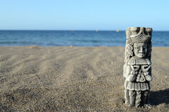 Ancient Maya Statue on the Sand Beach Royalty Free Stock Images