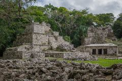 Ancient Maya temple complex in Muil Chunyaxche, Mexico royalty free stock image