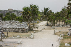 Ancient Mayan Architecture and Ruins located in Tulum, Mexico of Stock Photos