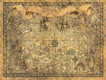 Ancient mayan or aztecs map with gods, old ships and temple on paper textured background. Ancient mayan or aztecs map with gods, old ships and temple on old Stock Images