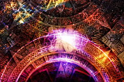 Ancient Mayan Calendar, Cosmic space and stars, abstract color Background, computer collage. Stock Photo